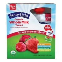Stonyfield Organic Whole Milk Pouch Strawberry Beet Berry - 4pk/3.7oz