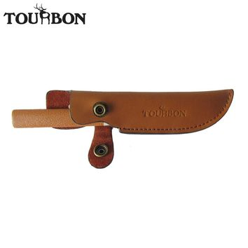 Tourbon Durable Fixed Blade Knives Sheath Brown Leather Knife Scabbard with Button Close and Belt Slot for Hunting