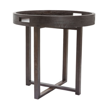 Lazy Susan Large Round Black Teak Side Table Tray  - 784058