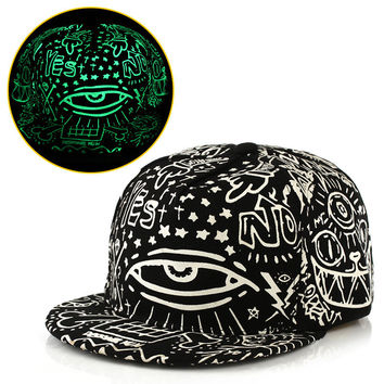 New Fashion Casual Cap Noctilucence Lighting Print Hip Hop Hat = 5987983489