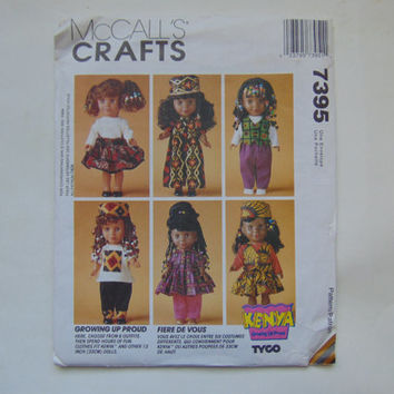 "McCalls Crafts 7395 Kenya Growing Up Proud Doll Clothes 13"" DOLL Clothes Sewing Pattern UNCUT McCall's"