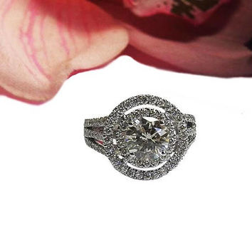 Ready to be Shipped within 3 days 2.83 carat Engagement Ring, Diamond Ring, Pave Ring, Cluster ring, Unique Diamond Ring, Double round Frame