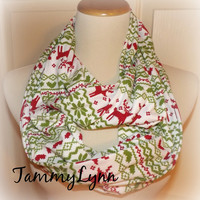 "READY to SHIP!  Reindeer Red Green Pattern on Ivory 18"" X 60"" Mix Cotton Jersey Blend Knit Infinity Scarf Holidays Women's Girls Accessories"