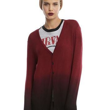 Red & Black Ombre Girls Cardigan