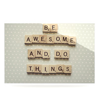 "Cristina Mitchell ""Be Awesome And Do Things"" Wooden Letters Luxe Rectangle Panel"