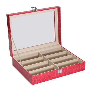 Modern Style 8 Grid Rose Leather Glass Display Case Glasses Box Glass Top Jewelry Storage Boxes Craft Collection Holder
