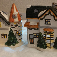 Two Set Christmas Village Homes