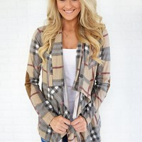 Plaid About You Cardigan ~ Taupe