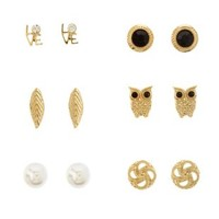 Gold Owl & Feather Stud Earrings - 6 Pack by Charlotte Russe