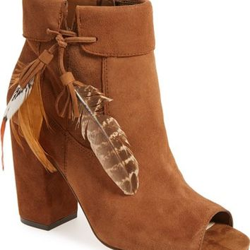 Jessica Simpson 'Kailey' Feather Charm Peep Toe Bootie (Women) | Nordstrom