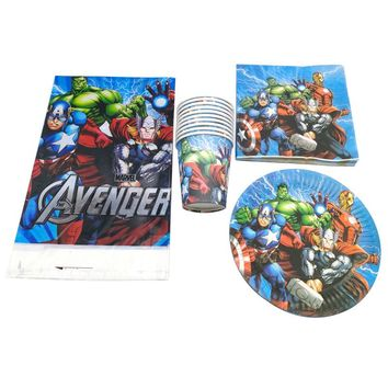 61PCS/lot Birthday Party Decorate Avengers/Captain America/Iron Man Theme Plates Cups Baby Shower Napkins Kids Favors Tablecloth