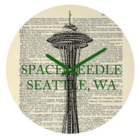 DarkIslandCity Space Needle On Dictionary Paper Round Clock