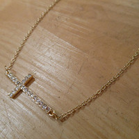 Gold Sideways Cross Necklace | Candy's Cottage