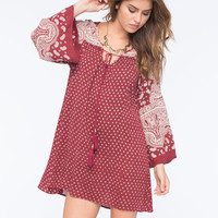 Angie Twin Bell Sleeve Peasant Dress Red  In Sizes