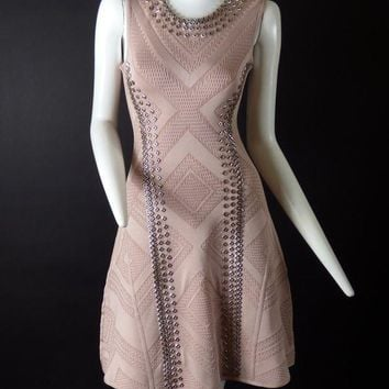 DCCKG2C HERVE LEGER-Dusty Rose Studded Bodycon Dress, Size- XSmall