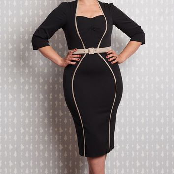 Black Sweetheart Neckline Hourglass Pencil Dress