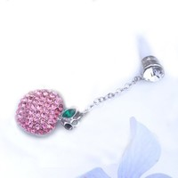 Pink Apple Rhinestone Charm (JP-606-Pink) Dust Plug / Earphone Jack Accessory / Ear Cap / Ear Jack
