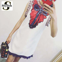 Party Dress Women Sequin Embroidery Bow Summer Dress 2017 Brand New Lace Sleeveless Tank Dresses White/Black Ladies Clothing