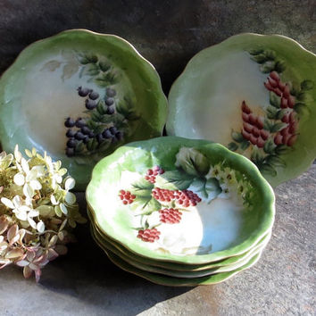 Vintage French Hand Painted Berry Bowls, Berries, Fruit and Flowers, Handpainted Green Dinnerware, Set of Six Dessert Serving Dishes