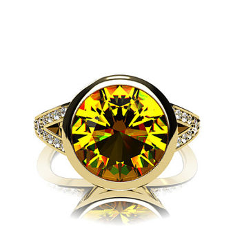 2.48ct Yellow sapphire engagement ring with diamonds, bezel ring, split shank, unique, genuine sapphire, solitaire, wedding ring, gold