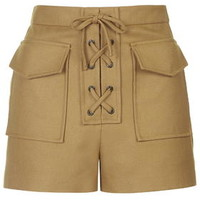 Lace-Up Twill Shorts - Tan