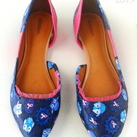 Give A Hoot-Owl-Breast Cancer Awareness-Pink and Blue-Women's Flats-Custom Shoes-Decoupage-Spring flats-Summer Shoes