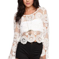 Kendall & Kylie Long Sleeve Crochet Top - Womens Sweater -