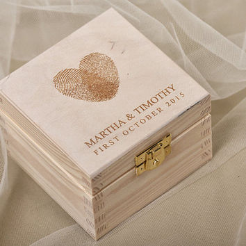 Fingerprint Wood Wedding Ring Bearer Box, Rustic Wooden Ring Box ,  Engraved  Bride and groom names