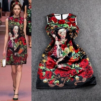 Red Digitally Print Floral Mother And Child Beaded Sleeveless A-Line Mini Dress