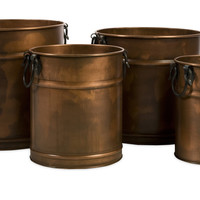 Tauba Round Copper Finish Planter with Iron Handles - Set of 4
