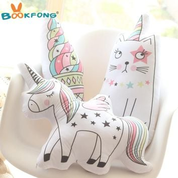 Kawaii Unicorn Plush Toy Soft Icecream Plush Pillow Soft Animal Shaped Doll Baby Kids Bedroom Decoration Kids Gift Toys