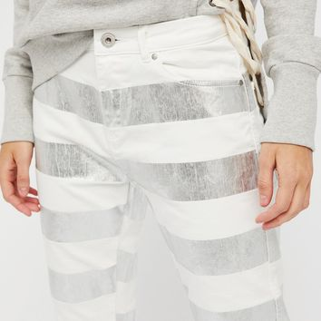 Free People Seasonal Foil Boyfriend Jeans