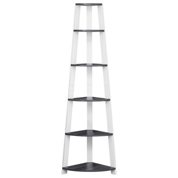 "Bookcase - 72""H / Grey-White Corner Accent Etagere"