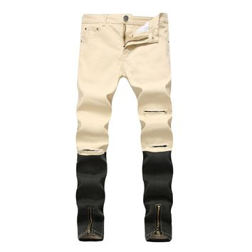 Men's Fashion Pants Zippers Denim Casual Stretch Ripped Holes Men Jeans [127701712925]
