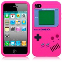 eFuture(TM) Hot pink Nintendo Gameboy Pattern Silicone Soft Case Cover fit for new iPhone 4 4S +eFuture's nice Keyring