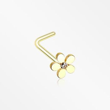 Golden Grand Plumeria L-Shaped Nose Ring
