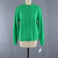 Vinage Tally Ho Cable knit Sweater / Kelly Green
