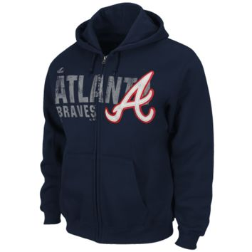 Majestic Atlanta Braves Double Switch Full Zip Hoodie - Navy Blue