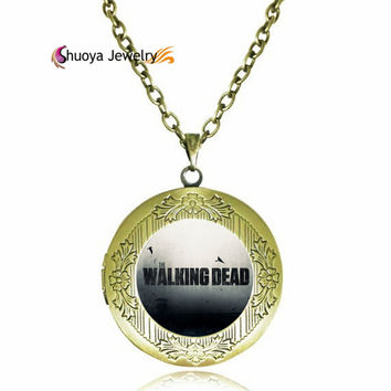 The Walking Dead Locket Pendant Necklace New Vintage Style Round Glass Necklace Pendant Charm