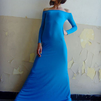 10% discount with coupon code cvetinka10 CUSTOM MADE Eco Friendly Sexy Feminine Maxi Tight Long Dress Off Shoulder Bright Blue Turquoise