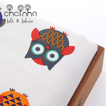 Upholstery Canvas Fabric Duck Fabric For Bag Purse Shoes Doll Throw Pillow Home Decration Material Owl Half Yard CCU014