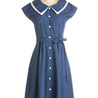 ModCloth Vintage Inspired Long Cap Sleeves A-line Journey to the Mast Dress in Navy