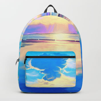 Sunset on the sea Backpack by exobiology
