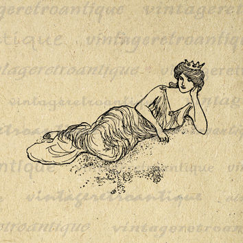 Digital Image Princess with Crown Download Graphic Illustrated Printable Antique Clip Art for Transfers Printing etc HQ 300dpi No.1920