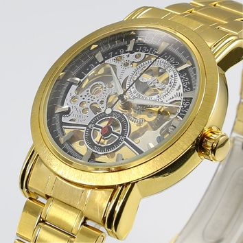 2016 New Gold Watches WINNER Luxury Brand Men's Fashion Automatic Hollow Out Man Mechanical Watches Waches