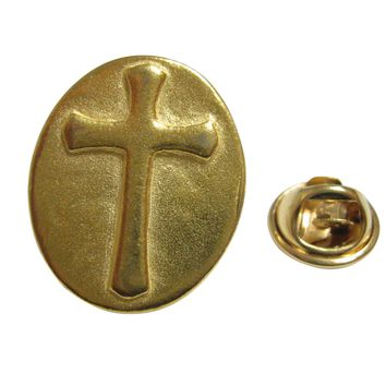 Gold Toned Oval Religious Cross Lapel Pin