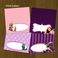 Tangled Rapunzel Food Labels - Rapunzel Tangled Printable Food Labels (Disney Tangled) - INSTANT DOWNLOAD