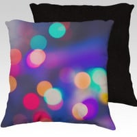 Abstract Colorful Neon Bokeh Throw Pillow Sham Cover Photography Christmas Lights Neon Colors Girly Wall Art Teen Room Decor Abstract Art