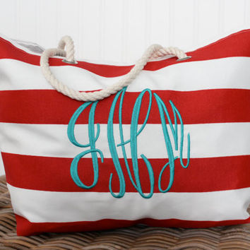 Beach Tote Bag - Large Monogrammed Tote Bag - Bridesmaid Gift  - Pool, Beach Bag  - Diaper Bag - Personalized Bag