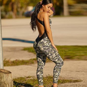 Backless camouflage workout jumpsuit